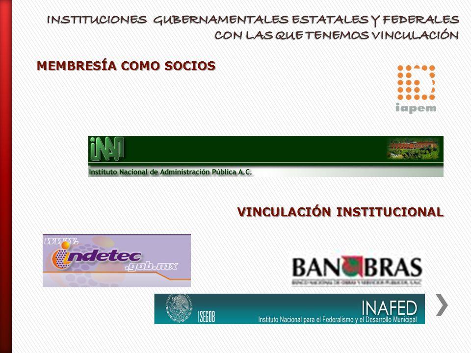 INSTITUCIONES GUBERNAMENTALES ESTATALES Y FEDERALES CON LAS QUE TENEMOS VINCULACIÓN