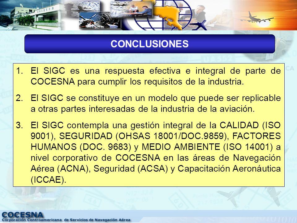 CONCLUSIONES El SIGC es una respuesta efectiva e integral de parte de COCESNA para cumplir los requisitos de la industria.