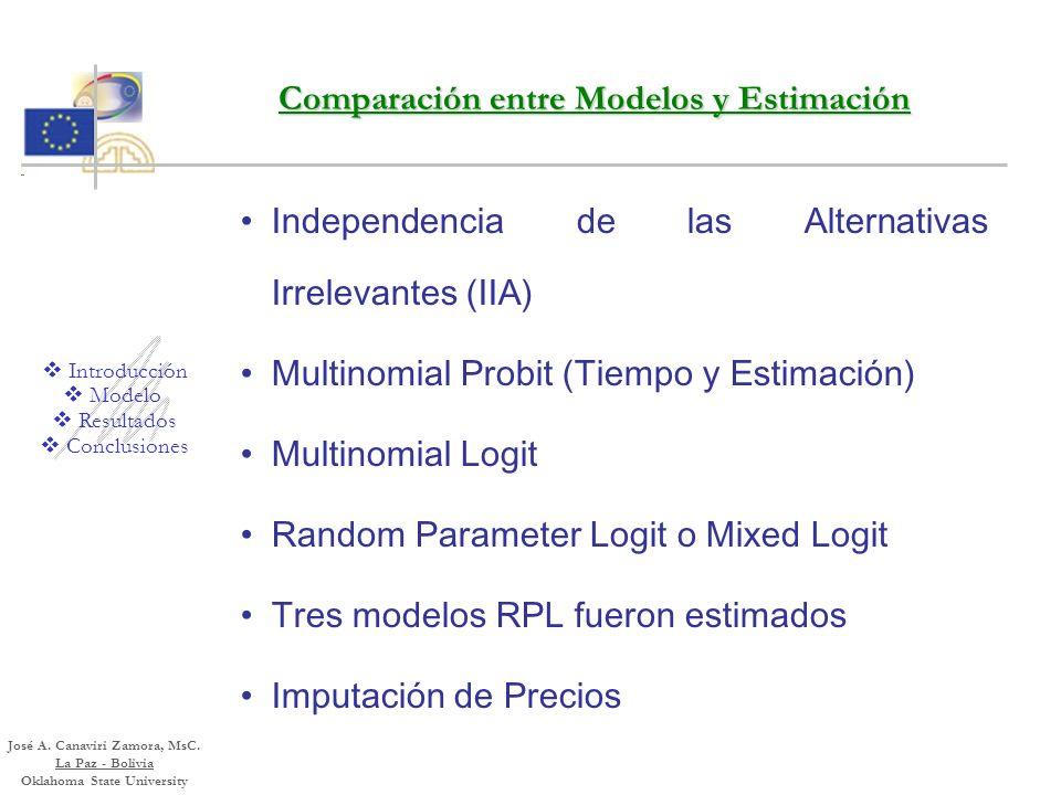 Comparación entre Modelos y Estimación