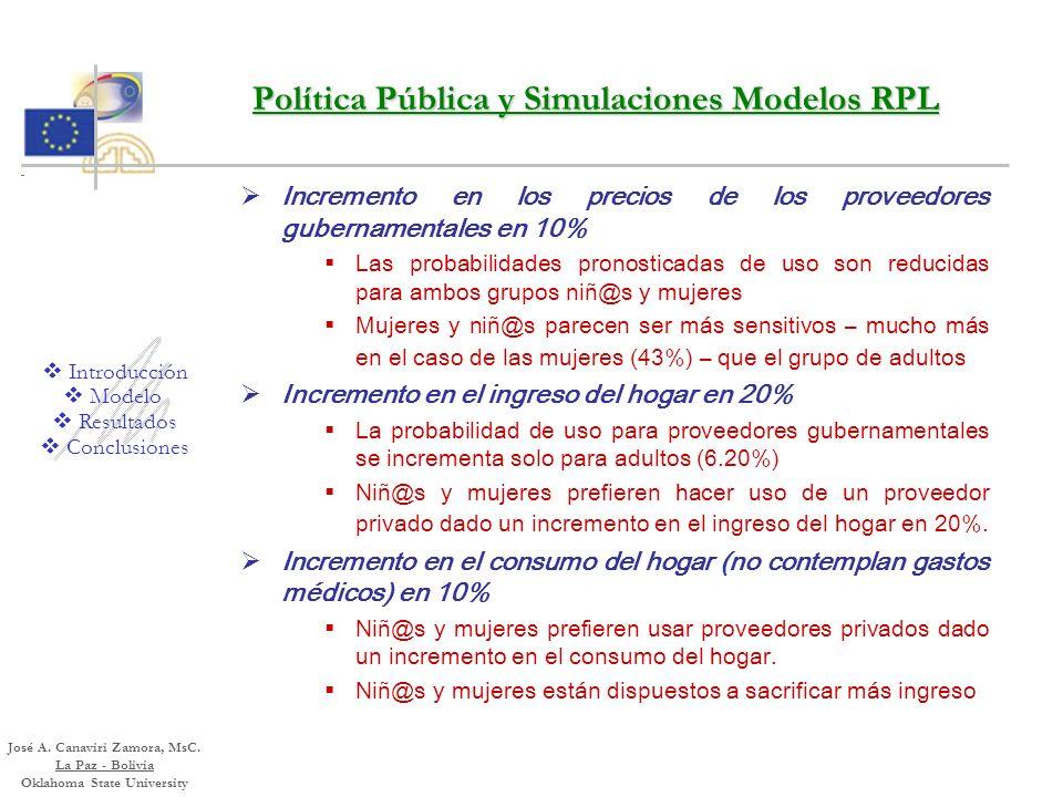 Política Pública y Simulaciones Modelos RPL