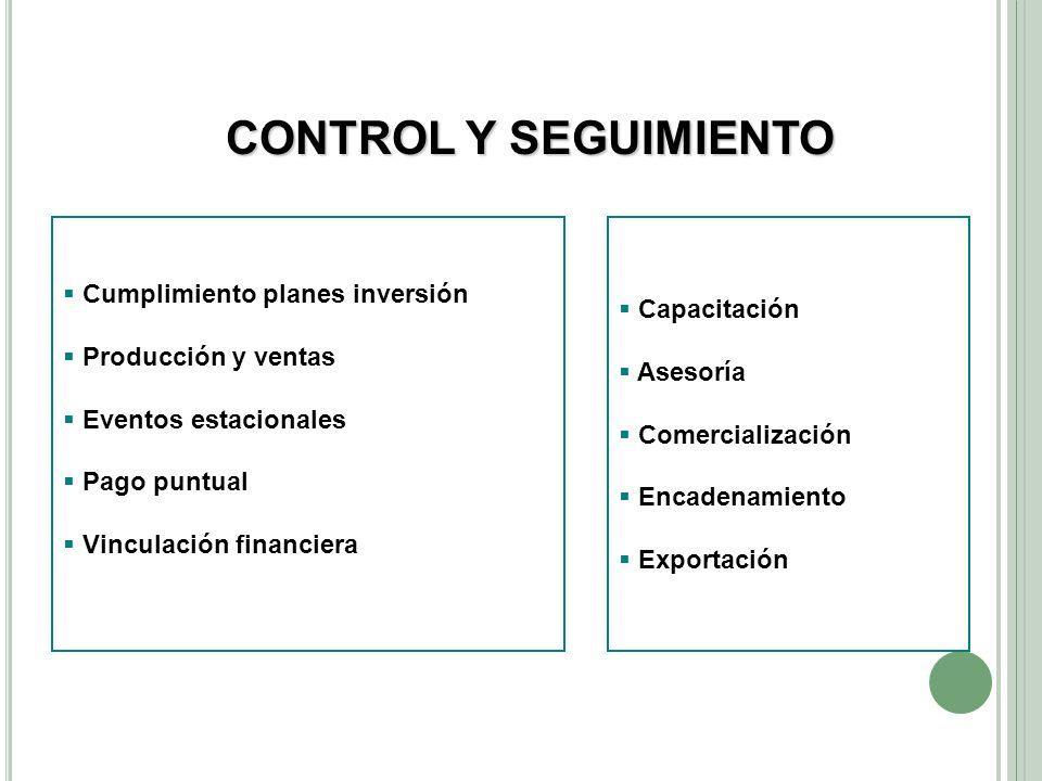 CONTROL Y SEGUIMIENTO Cumplimiento planes inversión Capacitación