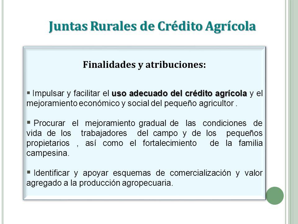 Juntas Rurales de Crédito Agrícola Finalidades y atribuciones: