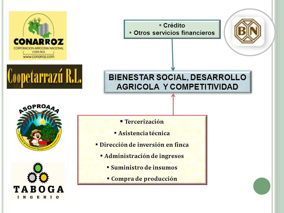 BIENESTAR SOCIAL, DESARROLLO AGRICOLA Y COMPETITIVIDAD