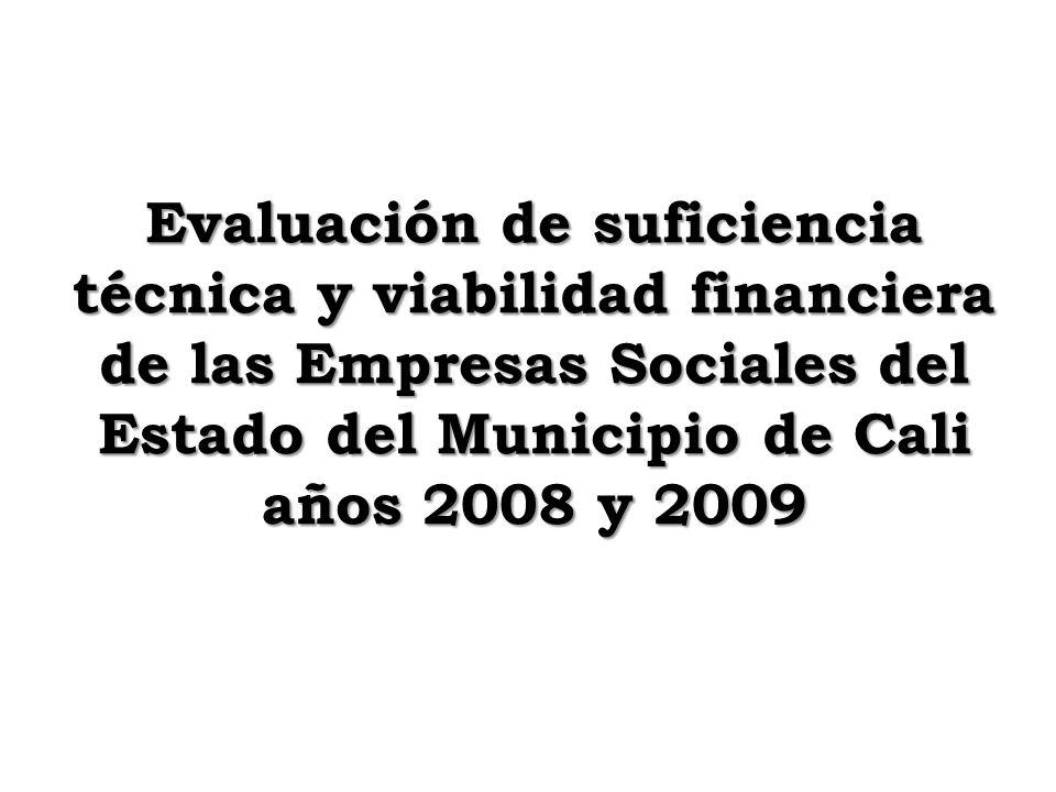 Evaluación de suficiencia técnica y viabilidad financiera de las Empresas Sociales del Estado del Municipio de Cali años 2008 y 2009
