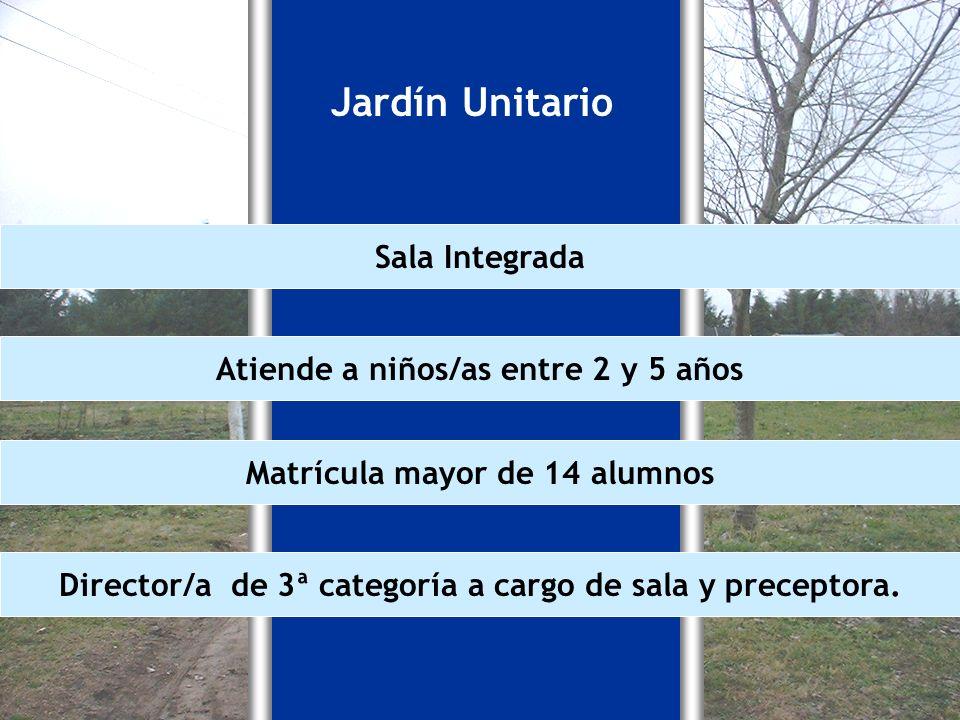 Jardín Unitario Sala Integrada Atiende a niños/as entre 2 y 5 años