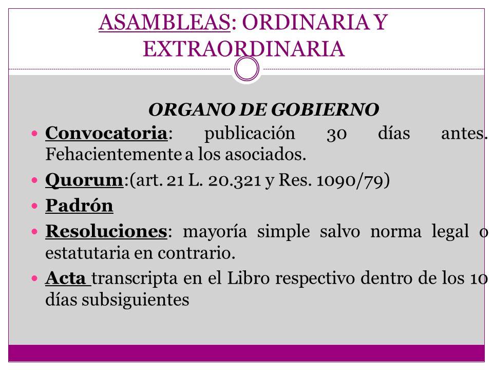 ASAMBLEAS: ORDINARIA Y EXTRAORDINARIA