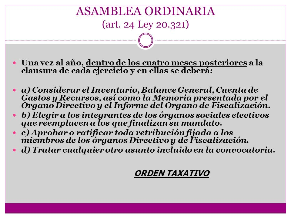 ASAMBLEA ORDINARIA (art. 24 Ley 20.321)