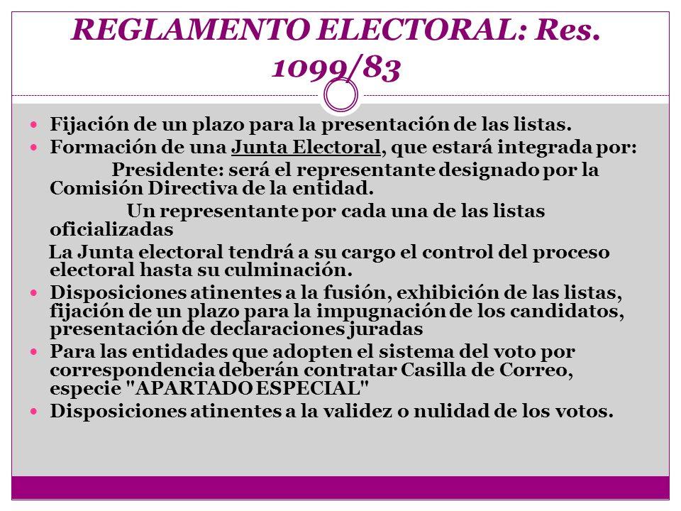 REGLAMENTO ELECTORAL: Res. 1099/83