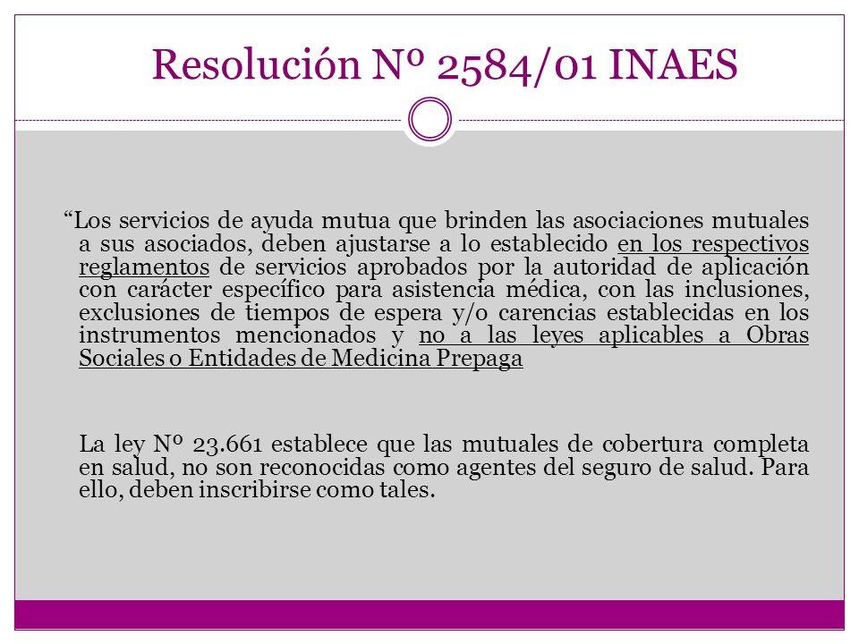 SERVICIO DE SALUD Y FARMACIA Resolución Nº 2584/01 INAES