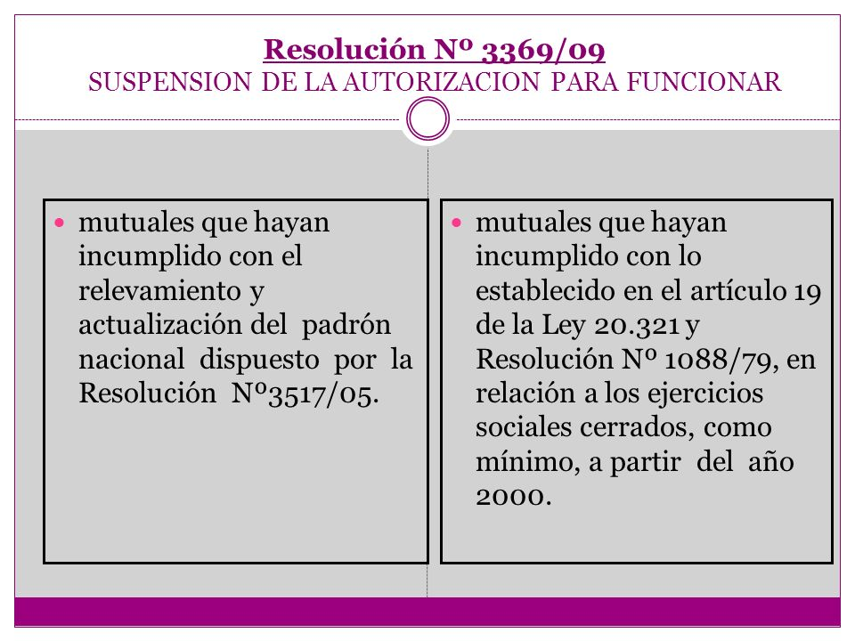 Resolución Nº 3369/09 SUSPENSION DE LA AUTORIZACION PARA FUNCIONAR