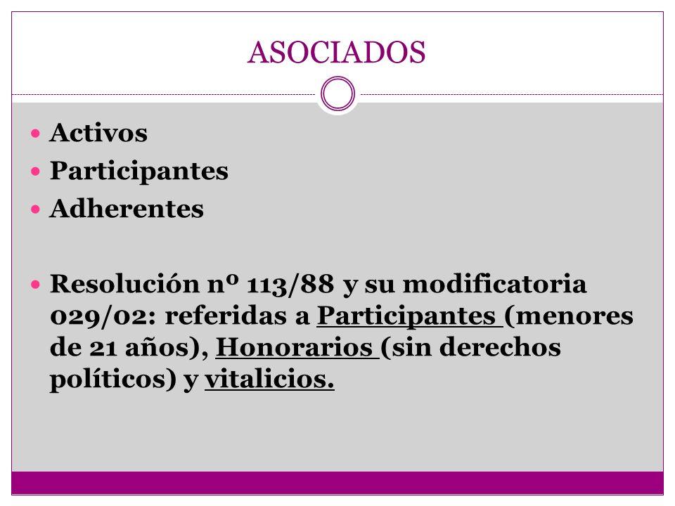 ASOCIADOS Activos Participantes Adherentes