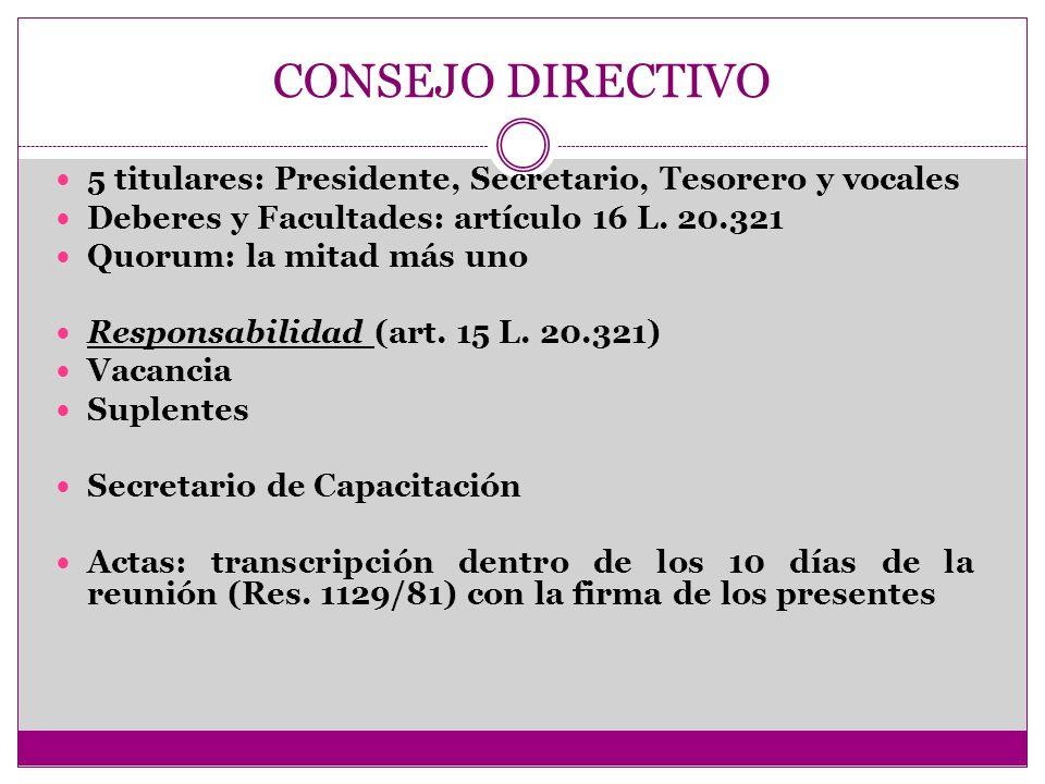 CONSEJO DIRECTIVO 5 titulares: Presidente, Secretario, Tesorero y vocales. Deberes y Facultades: artículo 16 L. 20.321.