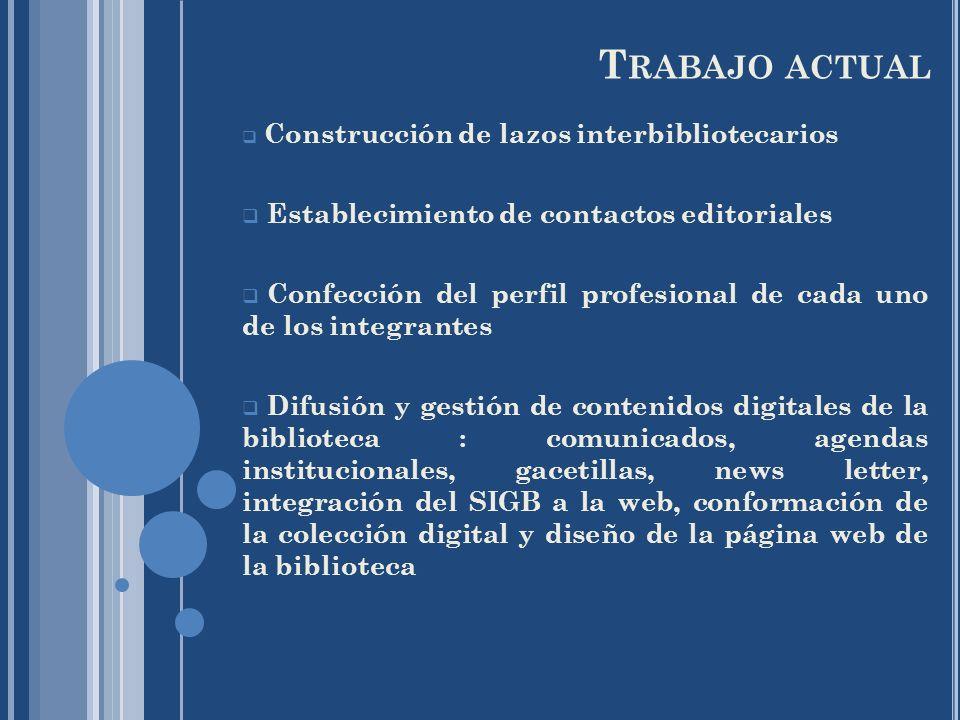 Trabajo actual Establecimiento de contactos editoriales