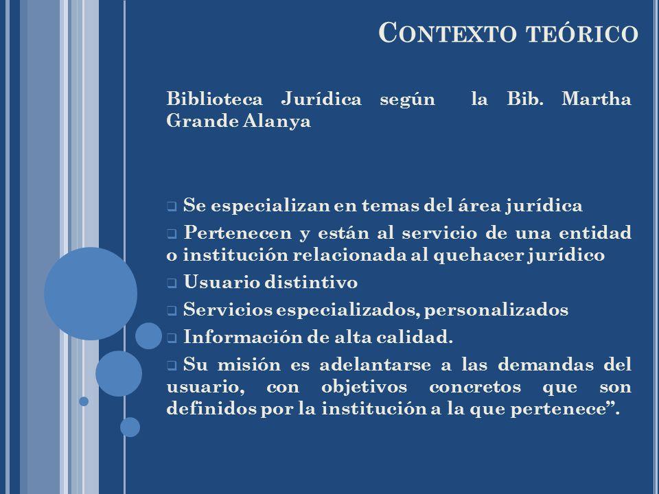 Contexto teórico Biblioteca Jurídica según la Bib. Martha Grande Alanya. Se especializan en temas del área jurídica.