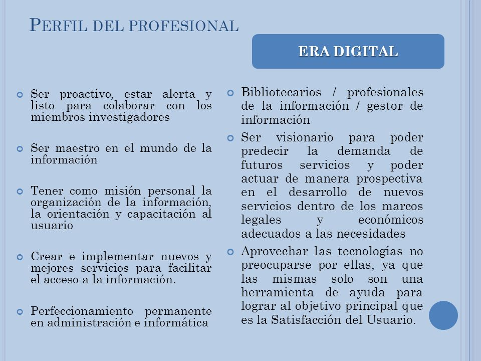 Perfil del profesional