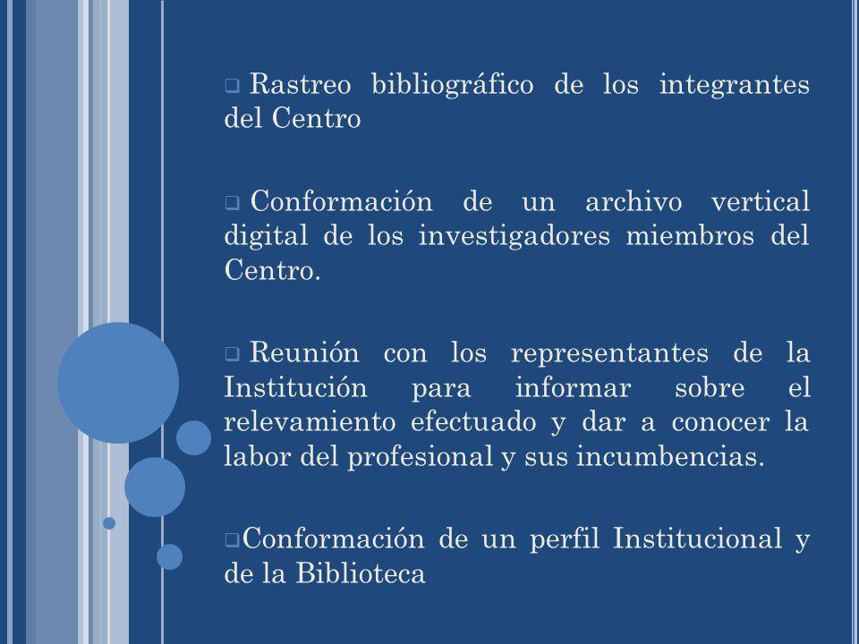 Rastreo bibliográfico de los integrantes del Centro