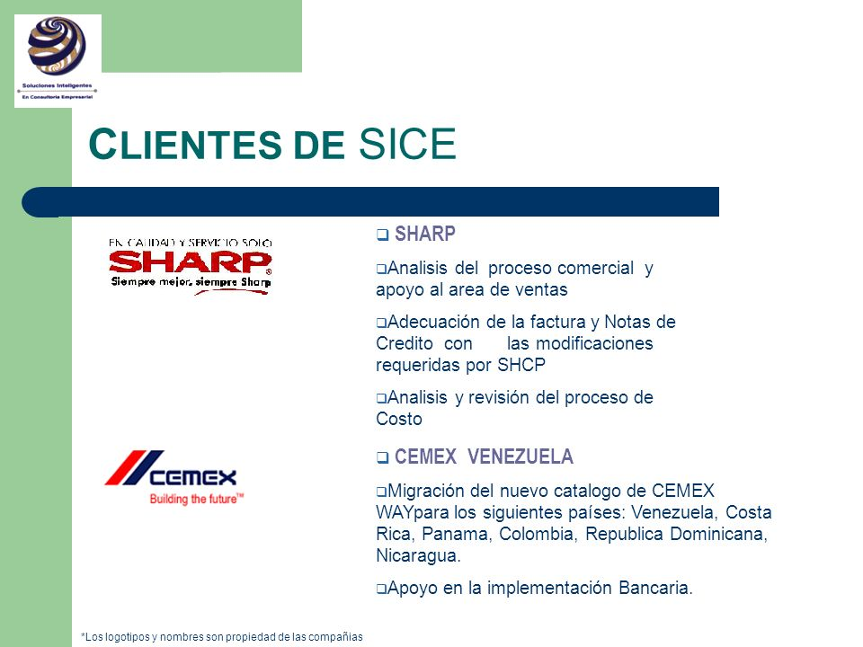 CLIENTES DE SICE SHARP CEMEX VENEZUELA