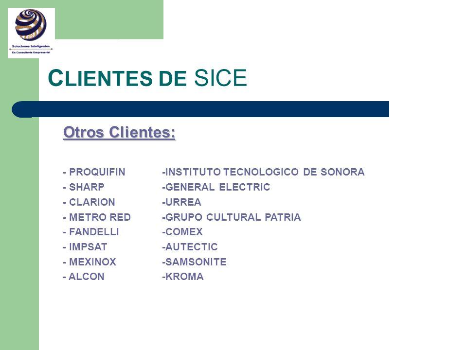 CLIENTES DE SICE Otros Clientes: