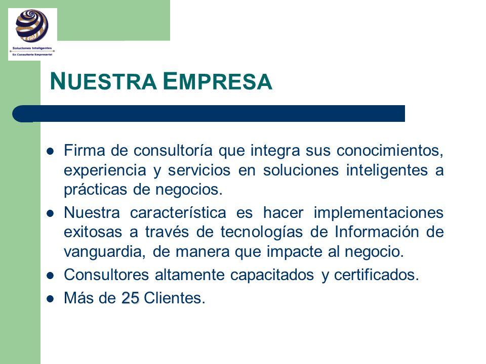NUESTRA EMPRESA Firma de consultoría que integra sus conocimientos, experiencia y servicios en soluciones inteligentes a prácticas de negocios.