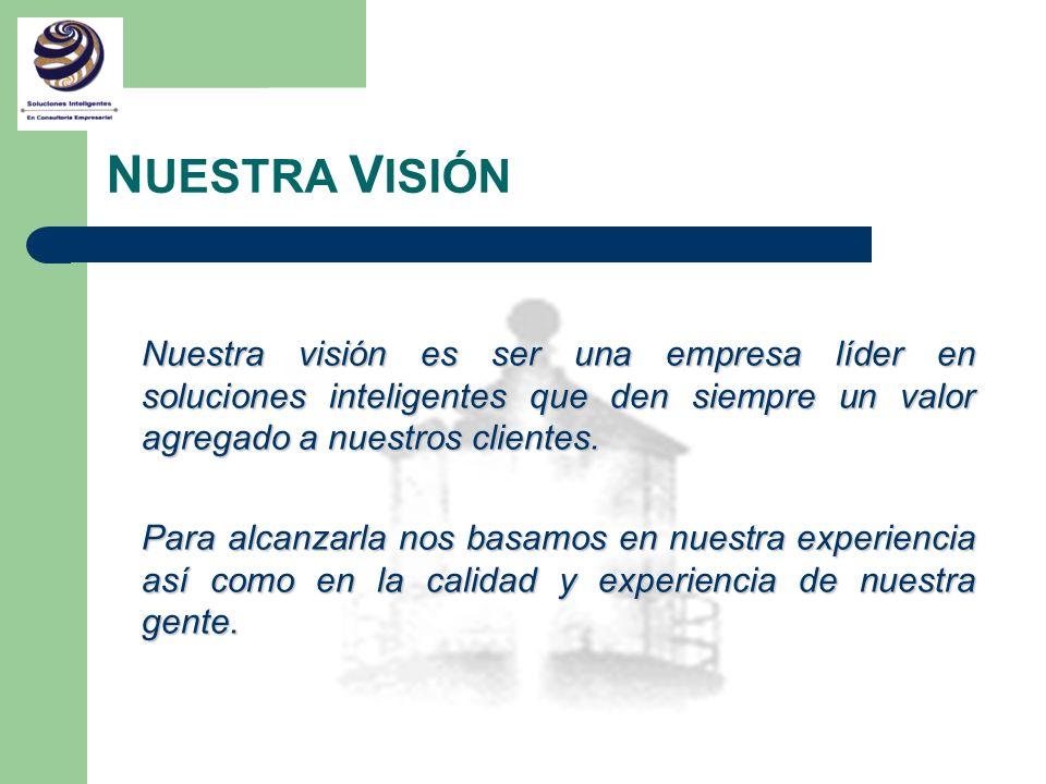 NUESTRA VISIÓNNuestra visión es ser una empresa líder en soluciones inteligentes que den siempre un valor agregado a nuestros clientes.