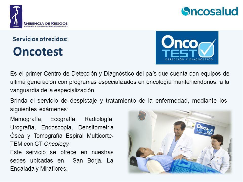 Servicios ofrecidos: Oncotest