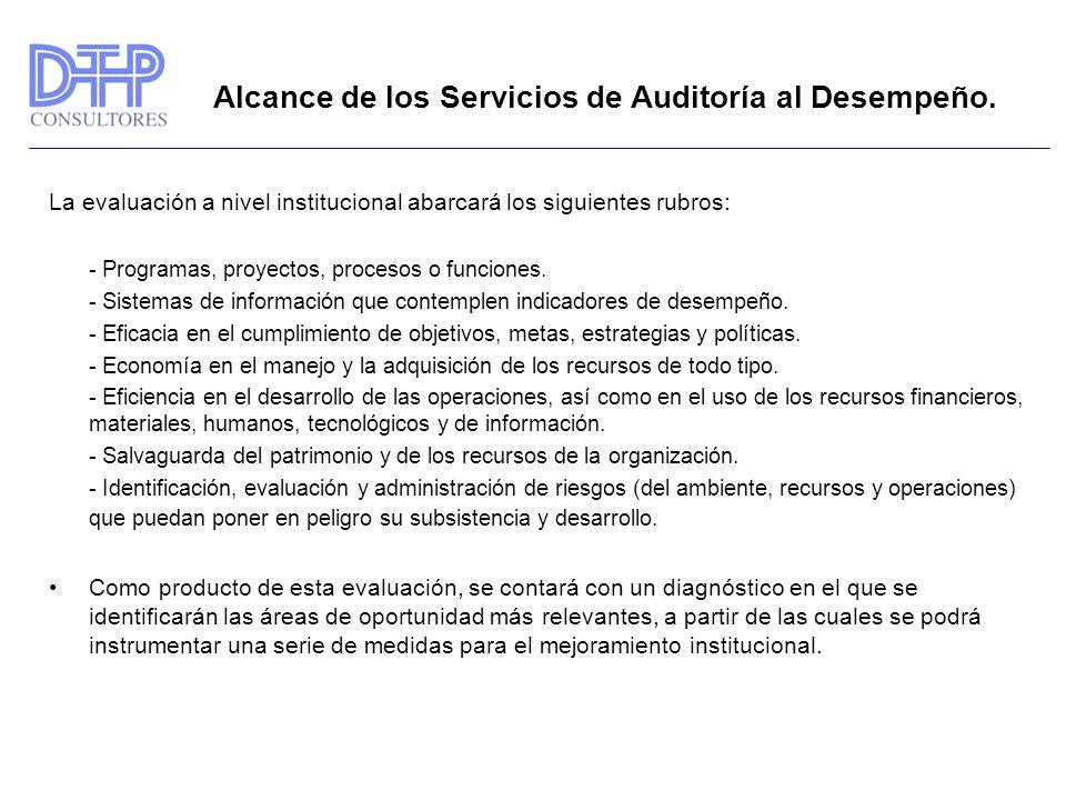 Alcance de los Servicios de Auditoría al Desempeño.