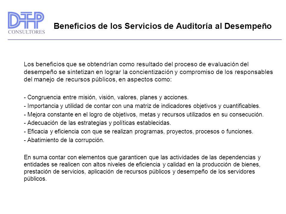 Beneficios de los Servicios de Auditoría al Desempeño