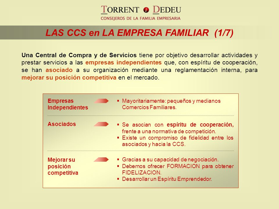LAS CCS en LA EMPRESA FAMILIAR (1/7)