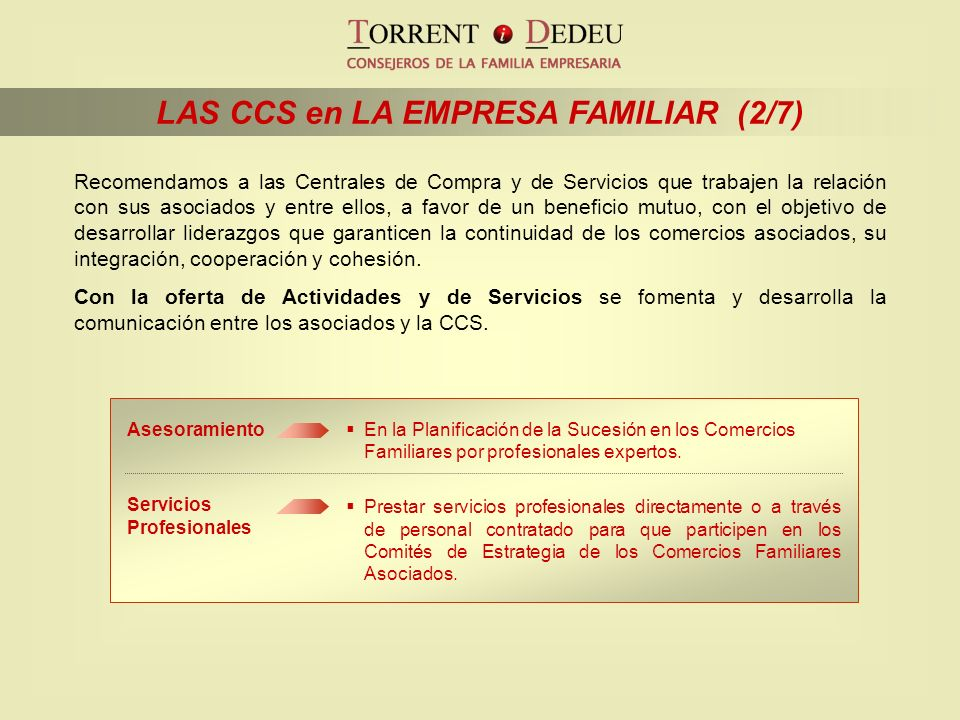 LAS CCS en LA EMPRESA FAMILIAR (2/7)