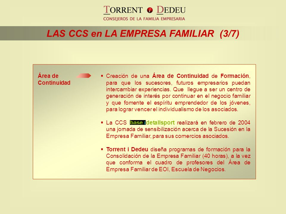 LAS CCS en LA EMPRESA FAMILIAR (3/7)
