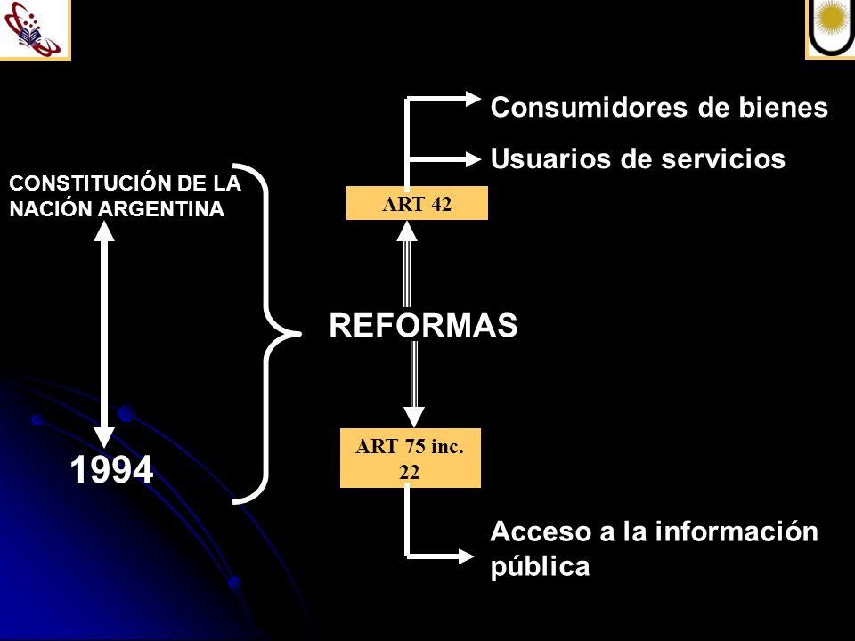1994 REFORMAS Consumidores de bienes Usuarios de servicios