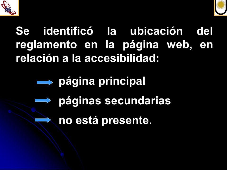 Se identificó la ubicación del reglamento en la página web, en relación a la accesibilidad: