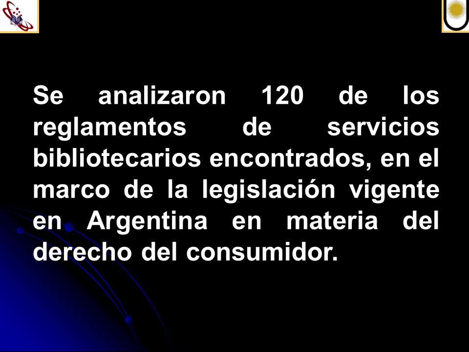 Se analizaron 120 de los reglamentos de servicios bibliotecarios encontrados, en el marco de la legislación vigente en Argentina en materia del derecho del consumidor.