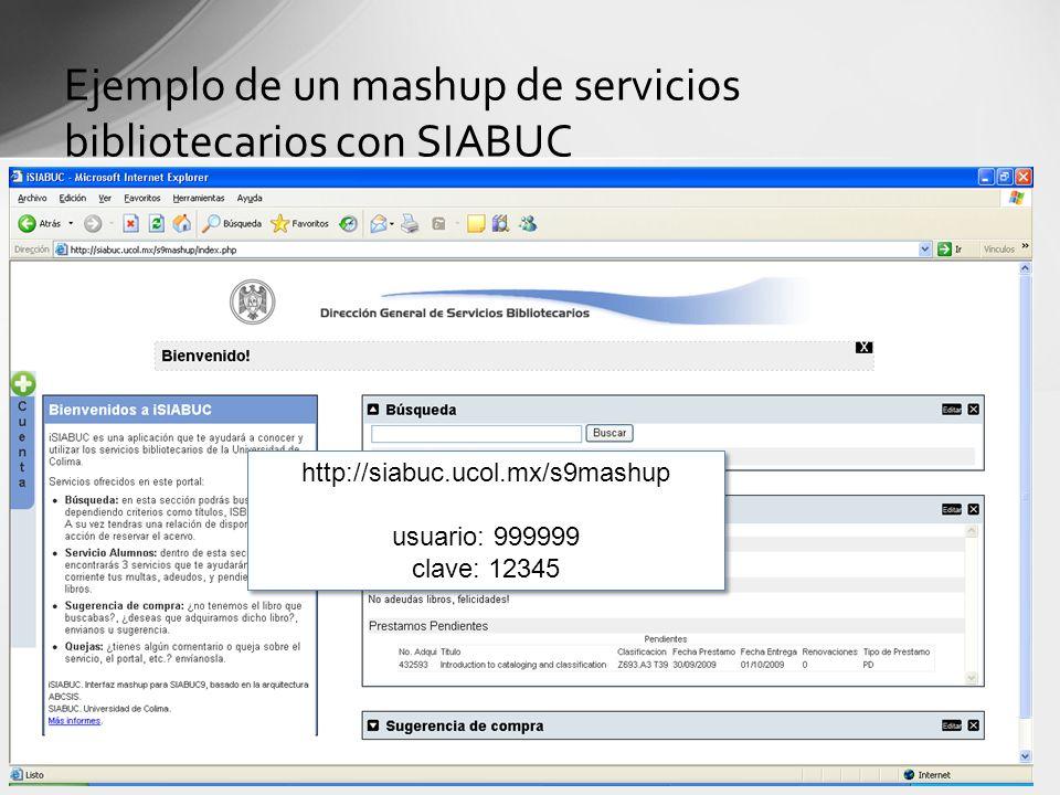 Ejemplo de un mashup de servicios bibliotecarios con SIABUC