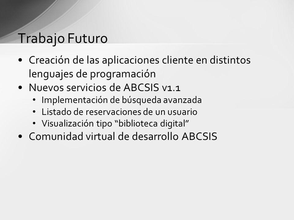 Trabajo Futuro Creación de las aplicaciones cliente en distintos lenguajes de programación. Nuevos servicios de ABCSIS v1.1.