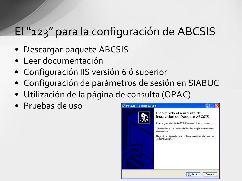 El 123 para la configuración de ABCSIS