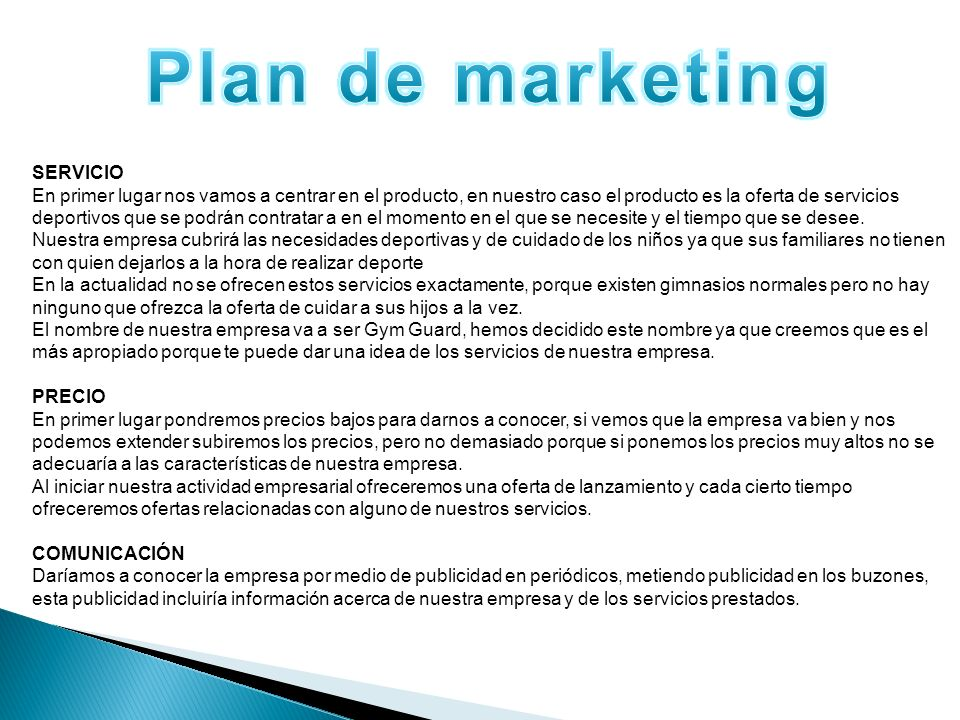 Plan de marketing SERVICIO