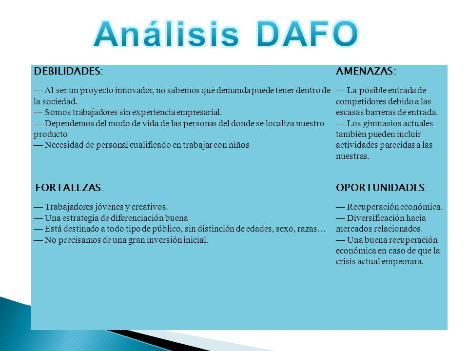 Análisis DAFO Análisis Dafo DEBILIDADES: AMENAZAS: OPORTUNIDADES: