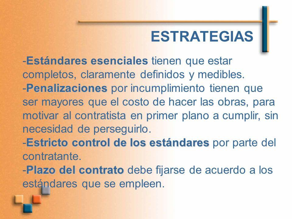 ESTRATEGIAS -Estándares esenciales tienen que estar completos, claramente definidos y medibles.