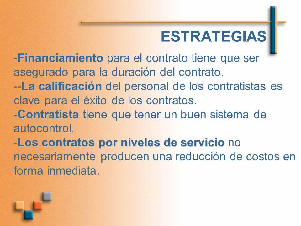 ESTRATEGIAS -Financiamiento para el contrato tiene que ser asegurado para la duración del contrato.