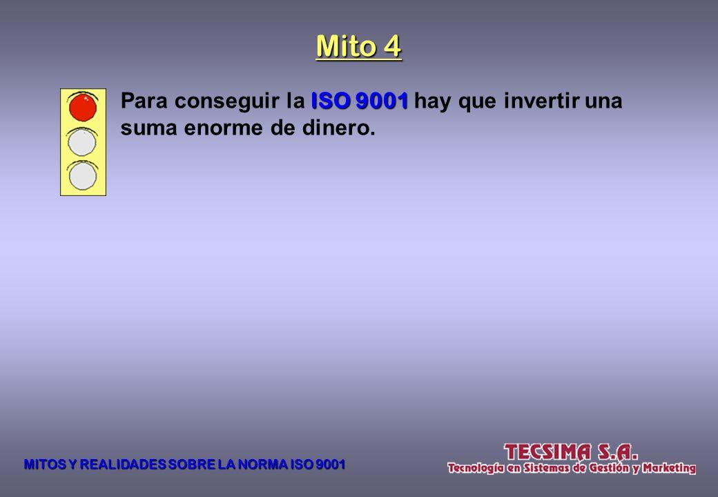 Mito 4 Para conseguir la ISO 9001 hay que invertir una suma enorme de dinero.