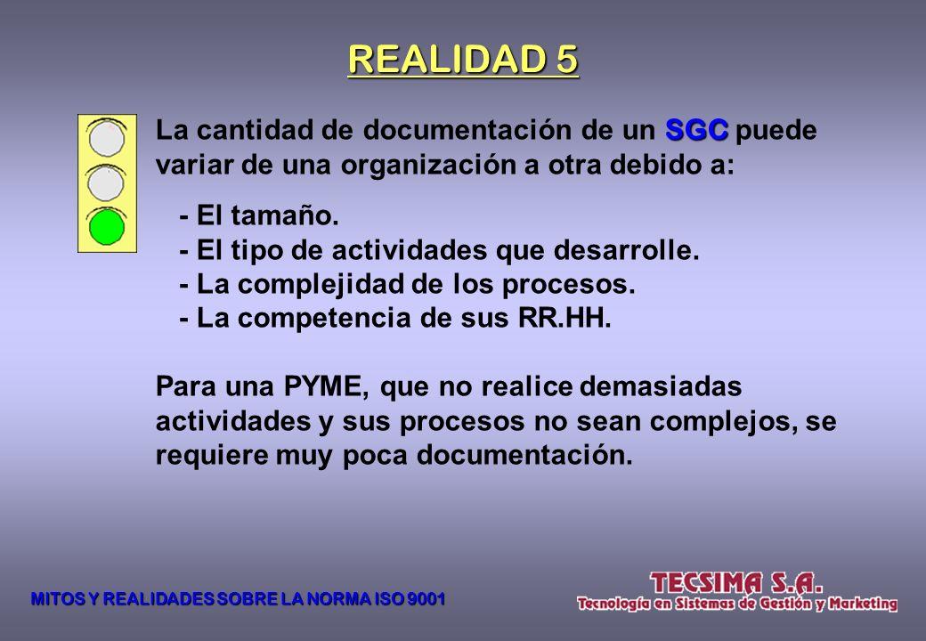REALIDAD 5 La cantidad de documentación de un SGC puede variar de una organización a otra debido a: