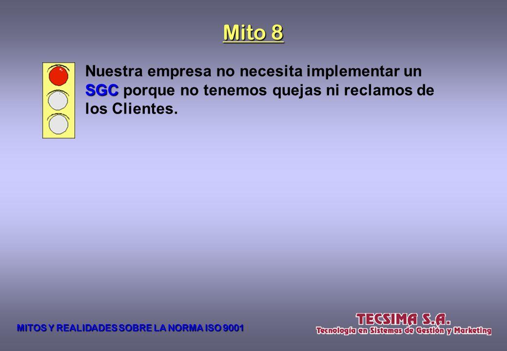 Mito 8 Nuestra empresa no necesita implementar un SGC porque no tenemos quejas ni reclamos de los Clientes.