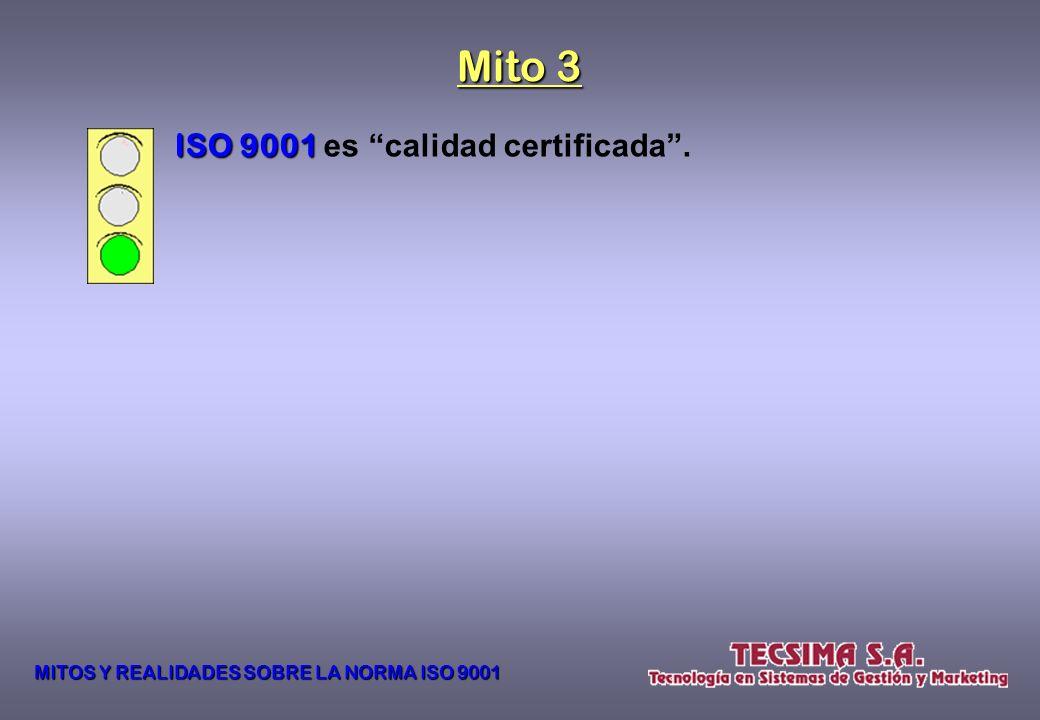 Mito 3 ISO 9001 es calidad certificada .