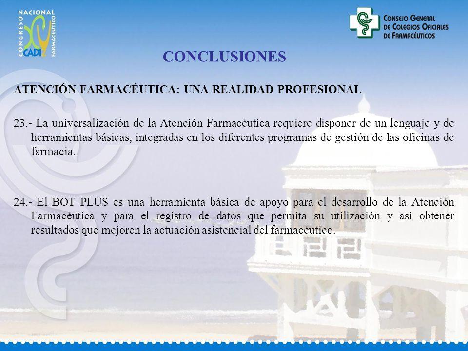 CONCLUSIONES ATENCIÓN FARMACÉUTICA: UNA REALIDAD PROFESIONAL