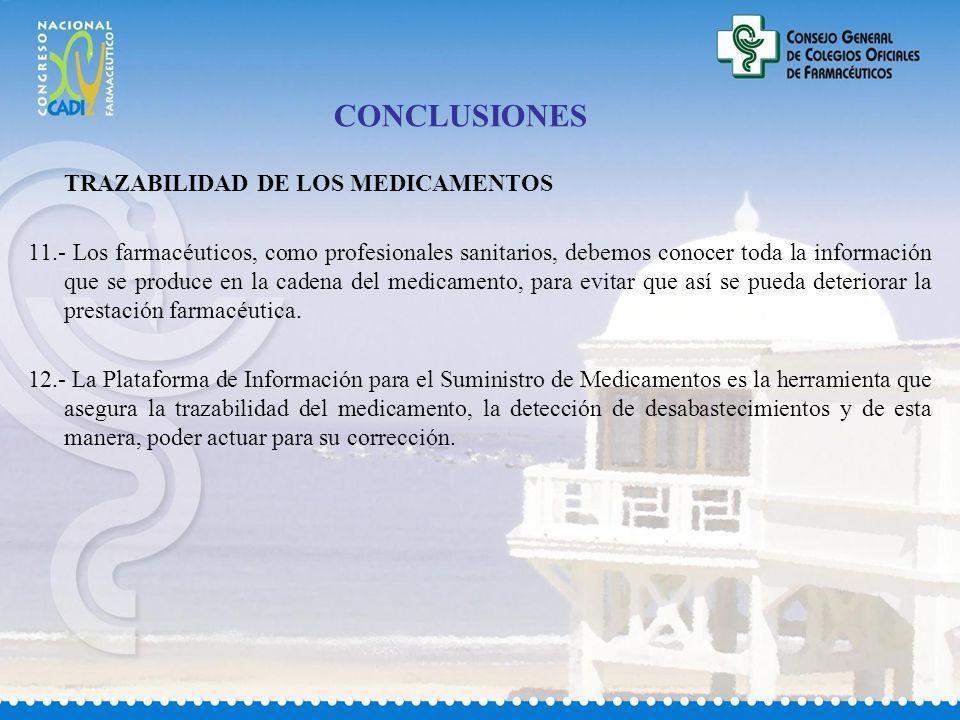 CONCLUSIONES TRAZABILIDAD DE LOS MEDICAMENTOS