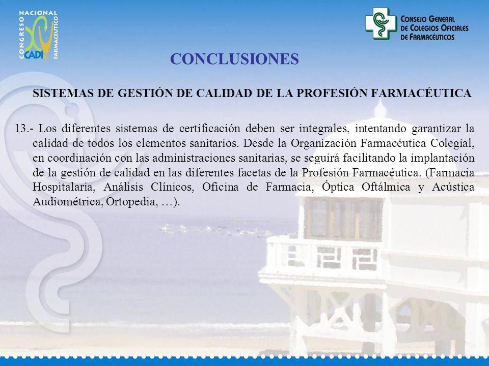 CONCLUSIONES SISTEMAS DE GESTIÓN DE CALIDAD DE LA PROFESIÓN FARMACÉUTICA.