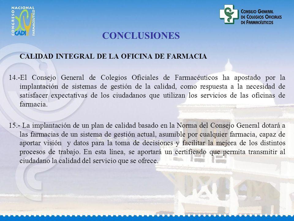 CONCLUSIONES CALIDAD INTEGRAL DE LA OFICINA DE FARMACIA