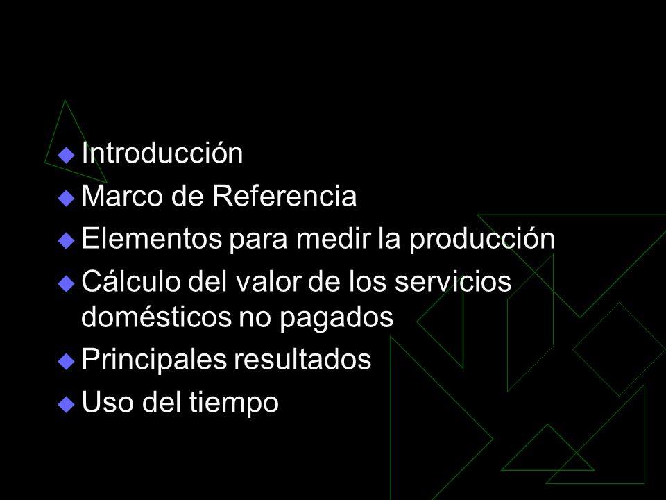 Introducción Marco de Referencia. Elementos para medir la producción. Cálculo del valor de los servicios domésticos no pagados.