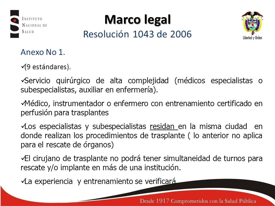 Marco legal Resolución 1043 de 2006
